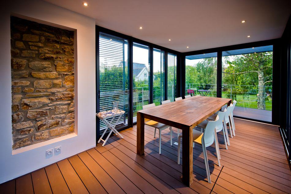 Agrandissement vitré du0027une maison en pierre - Clohars-Carnoët - faire un sauna maison