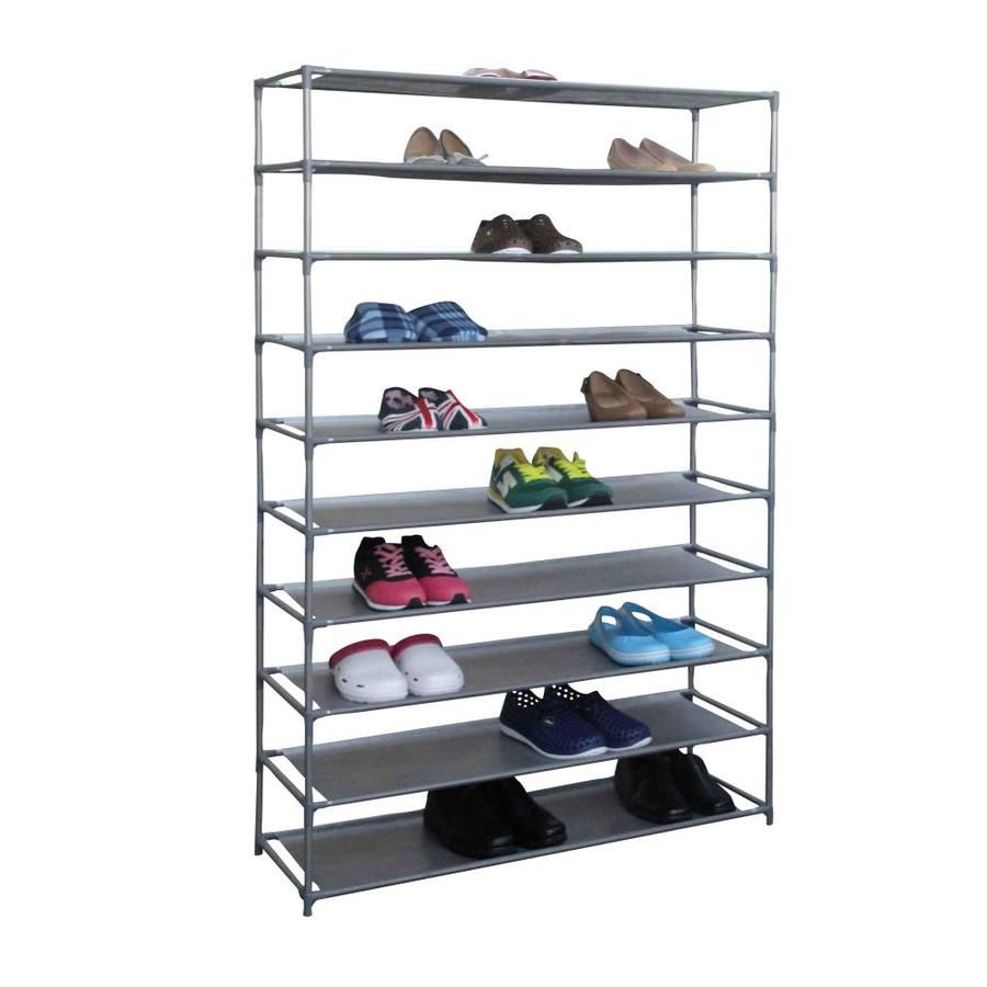 Home Basics 40 Pair Plastic Non Woven Wood Shoe Rack Low55578 In