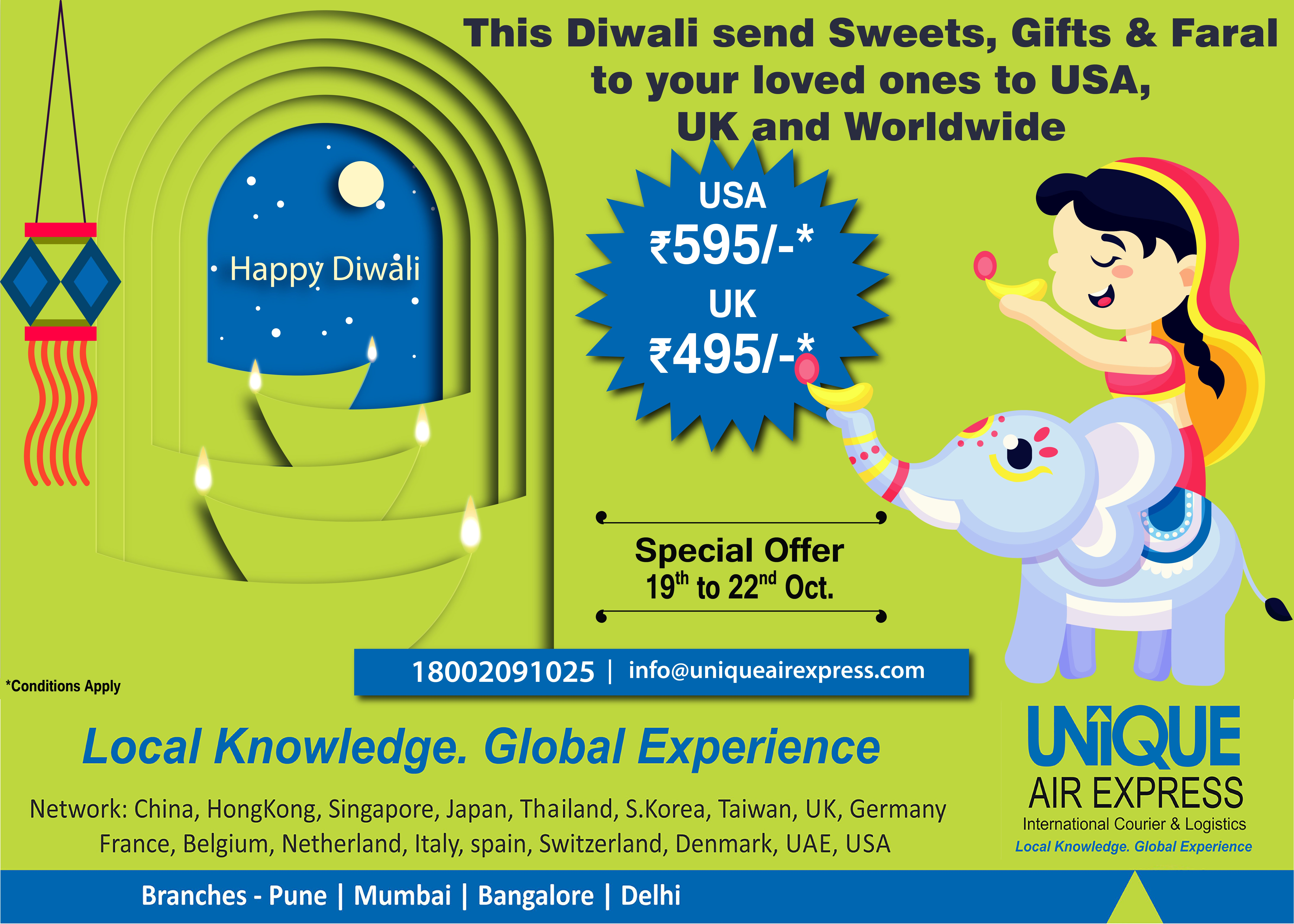 Diwali Special Offer! Last 2 Days Remaining! Send Parcel