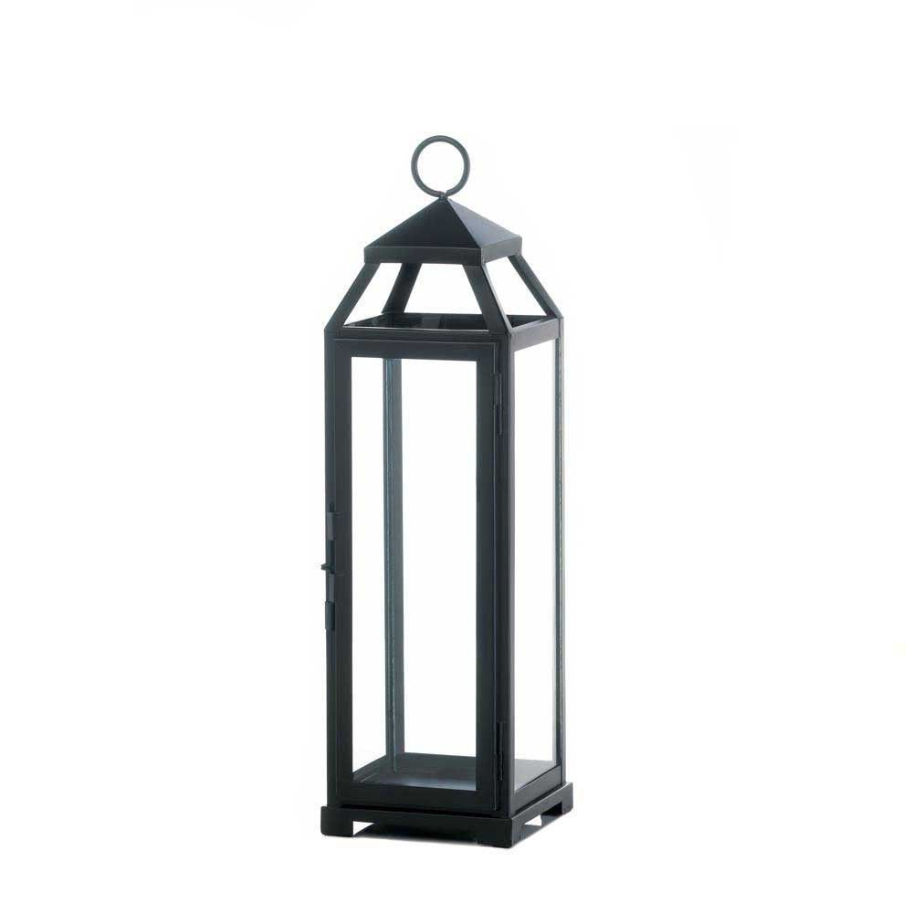 This stunning iron and glass candle lantern will make an impact on