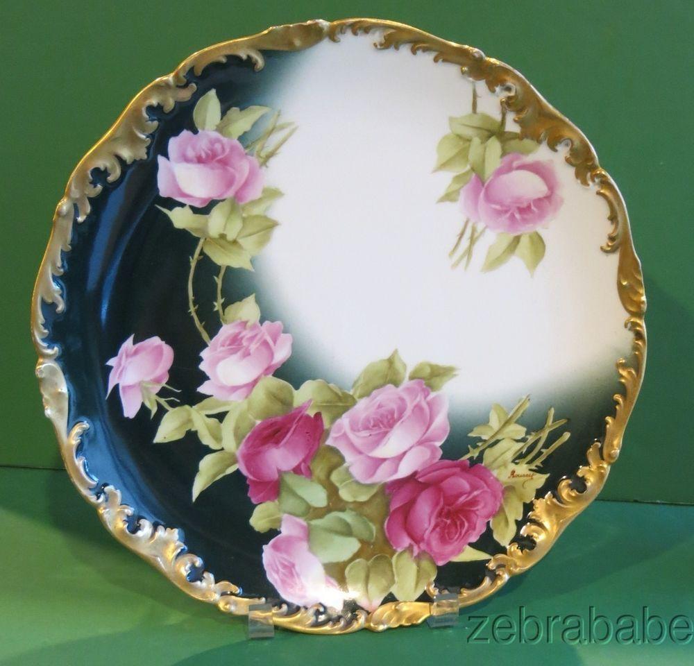 "Vintage PL Limoges France Hand Painted Gold Rim 6 1//2/"" Poppy Plates Beautiful"