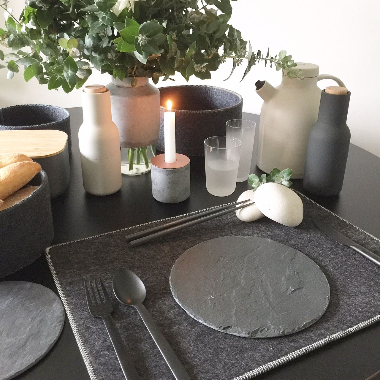 Felt Placemats Bread Baskets Bottle Grinders Slate Plates Norm Cutlery Matte Black Chunk Concrete Copper Cand Design Store Slate Plate Objects Design