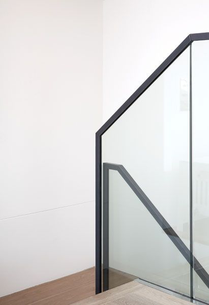 Best Leather Handrail Minimal Detail Stair To Lower Level 640 x 480