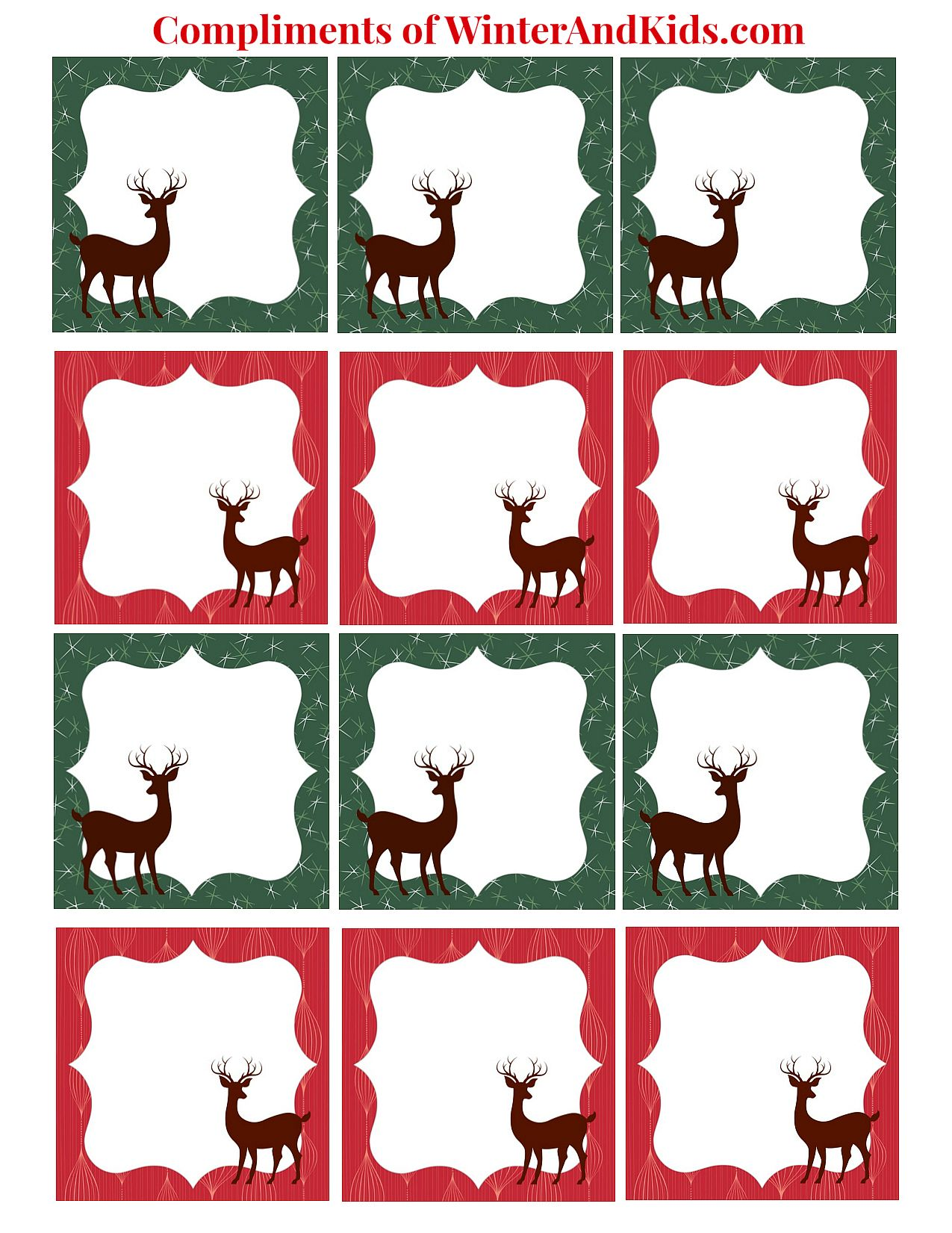 Kids christmas gift tags printable free