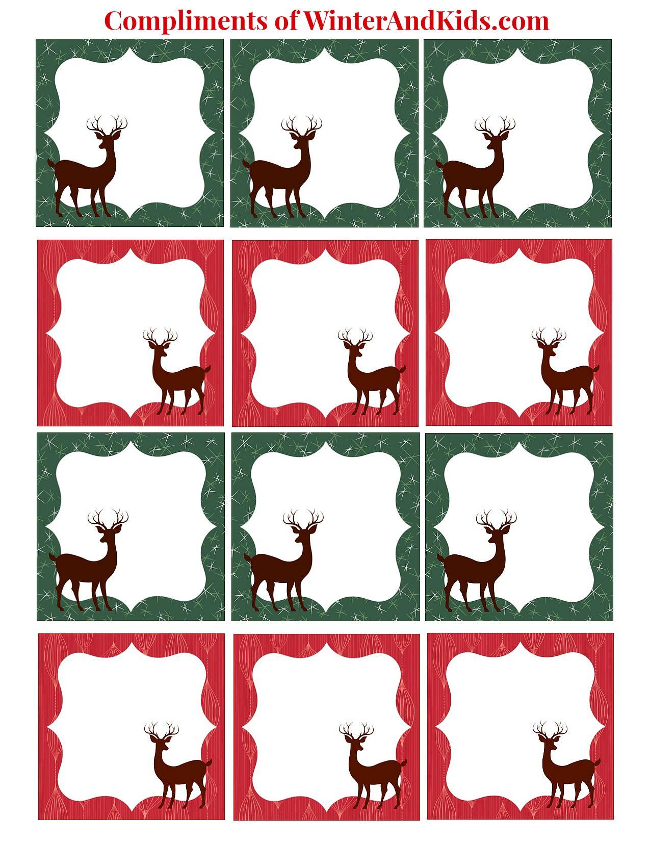 Free Printable Reindeer T Tags Printable Christmas