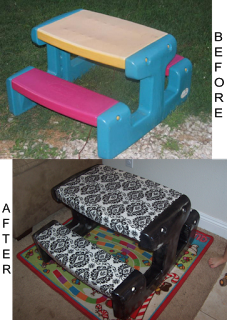 Carolines crafty corner recover an old kids plastic picnic table carolines crafty corner recover an old kids plastic picnic table with fabric covered in vinyl watchthetrailerfo