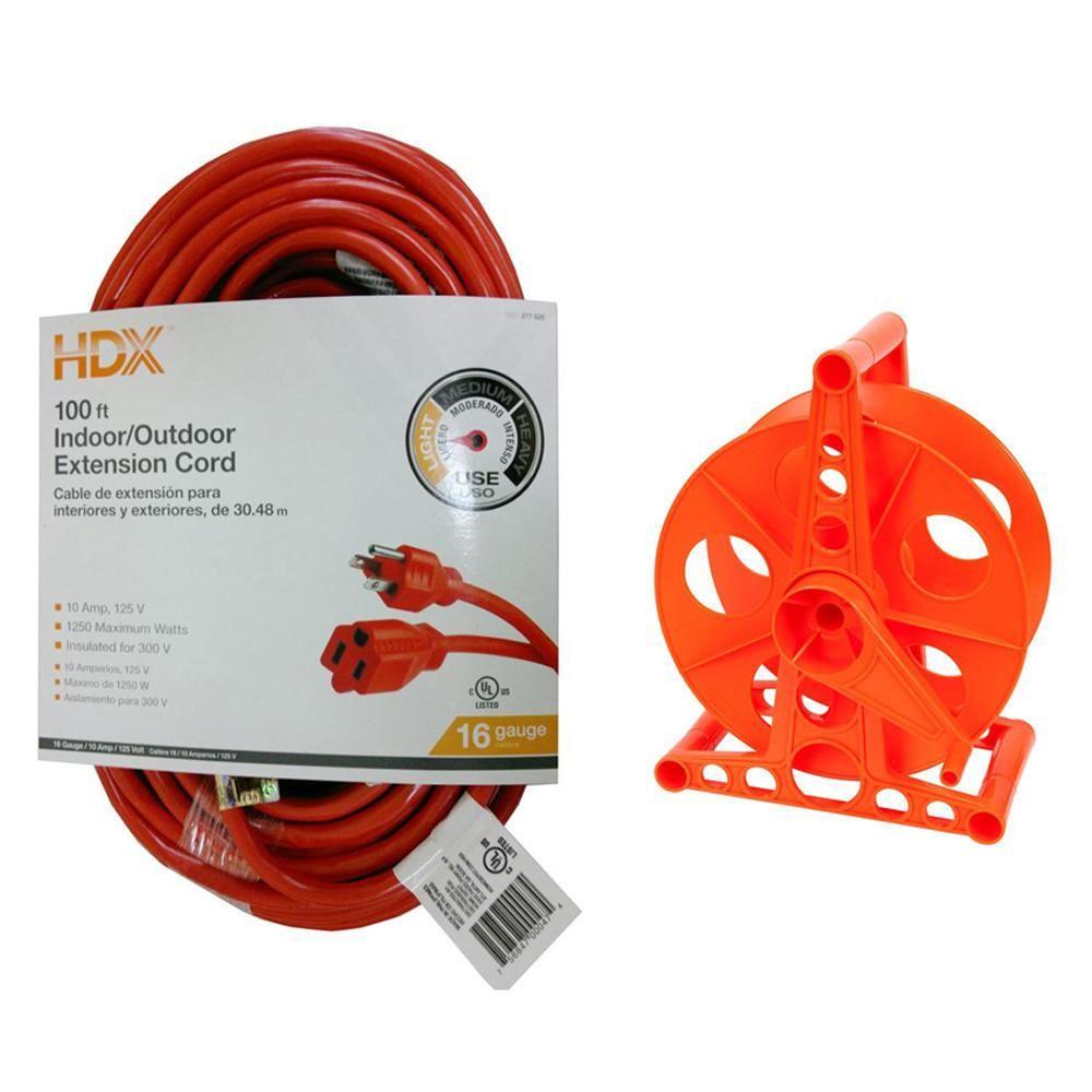 Hdx 100 Ft 16 3 Indoor Outdoor Extension Cord Orange And 150 Ft 16 3 Extension Cord Storage Reel Outdoor Extension Cord Extension Cord Cord