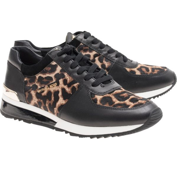 f6d07778b58d MICHAEL KORS Allie Wrap Cheetah Leo    Leather sneakers in leopard...  ( 215) ❤ liked on Polyvore featuring shoes