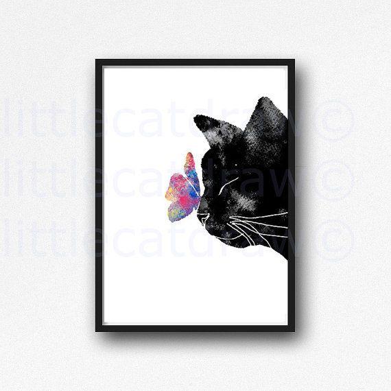 Katze Print Schwarze Katze Mit Bunten Schmetterling Aquarell Malerei  Kunstdruck Cat Print Ungerahmt Kunstdruck/Poster