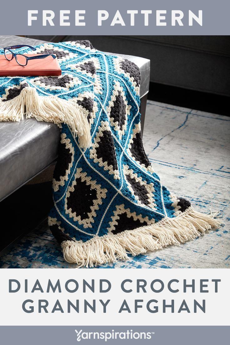 Free Easy Crochet Afghan Pattern #yarnspirations #carononepound #freecrochetpatterns #crochetpatterns #crochetblanket #crochetblanketfreepattern #easycrochetpatterns #afghanpatterns