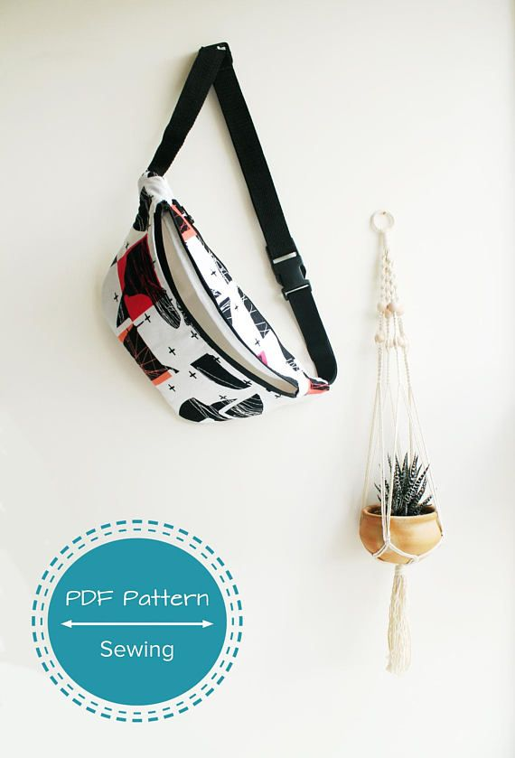 Fanny pack, festival bag, waist bag sewing pdf pattern tutorial, two ...