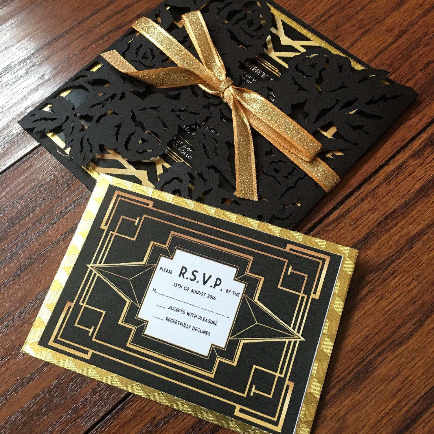 the great gatsby invitation with rsvp card the paper stylist