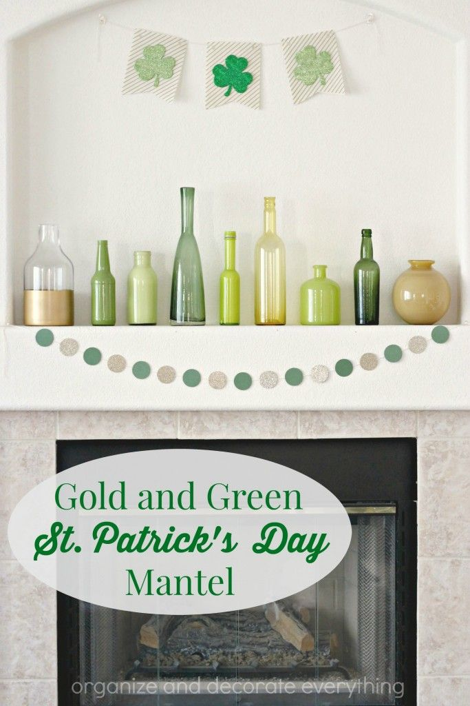 Gold and Green St Patricku0027s Day Mantel