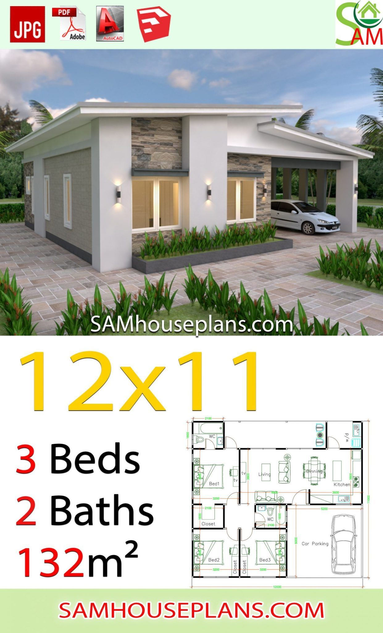 House Plans 12x11 With 3 Bedrooms Shed Roof Sam House Plans House Construction Plan House Plan Gallery Small House Design Plans
