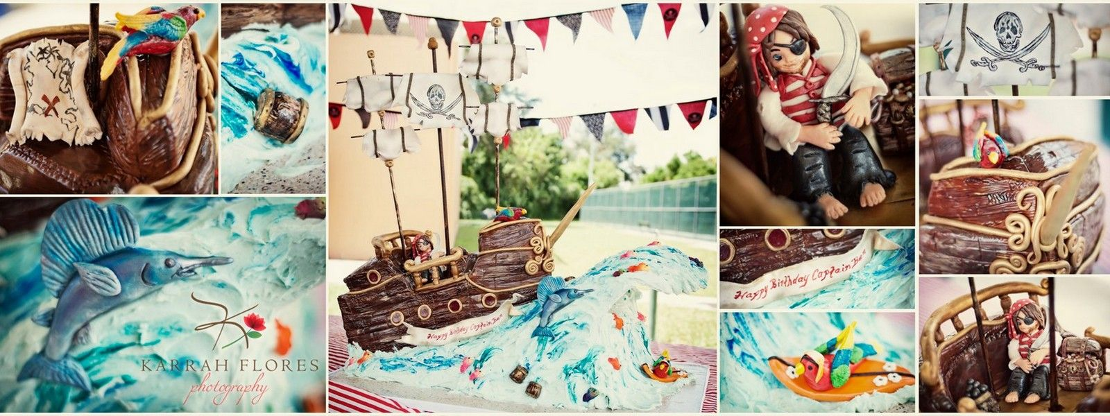A pirate ship sailing on an ocean wave with colorful fish, parrots, treasure and the cutest little pirate- all for Bens 4th Birthday! Photography courtesy of Karrah Flores Photograpy (www.facebook.com/karrahflores) who is also the Birthday boys Mommy!