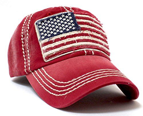 b461b304d45 White Sierra Vintage Red Oversized American Flag Patch Embroidery Baseball  Cap