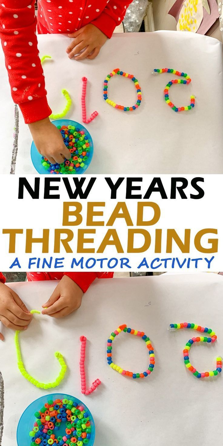 New Years Bead Threading Craft activities for kids, New