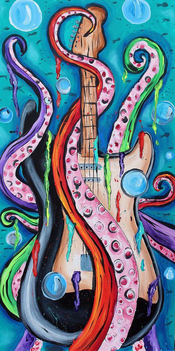 tentacle guitar 'painting,abstract,music ,art, by TarasArtHouse, stratocaster, nautical, electric guitar, kraken , colorful, guitar painting , octopus, tentacle art , original art, wall art , large painting