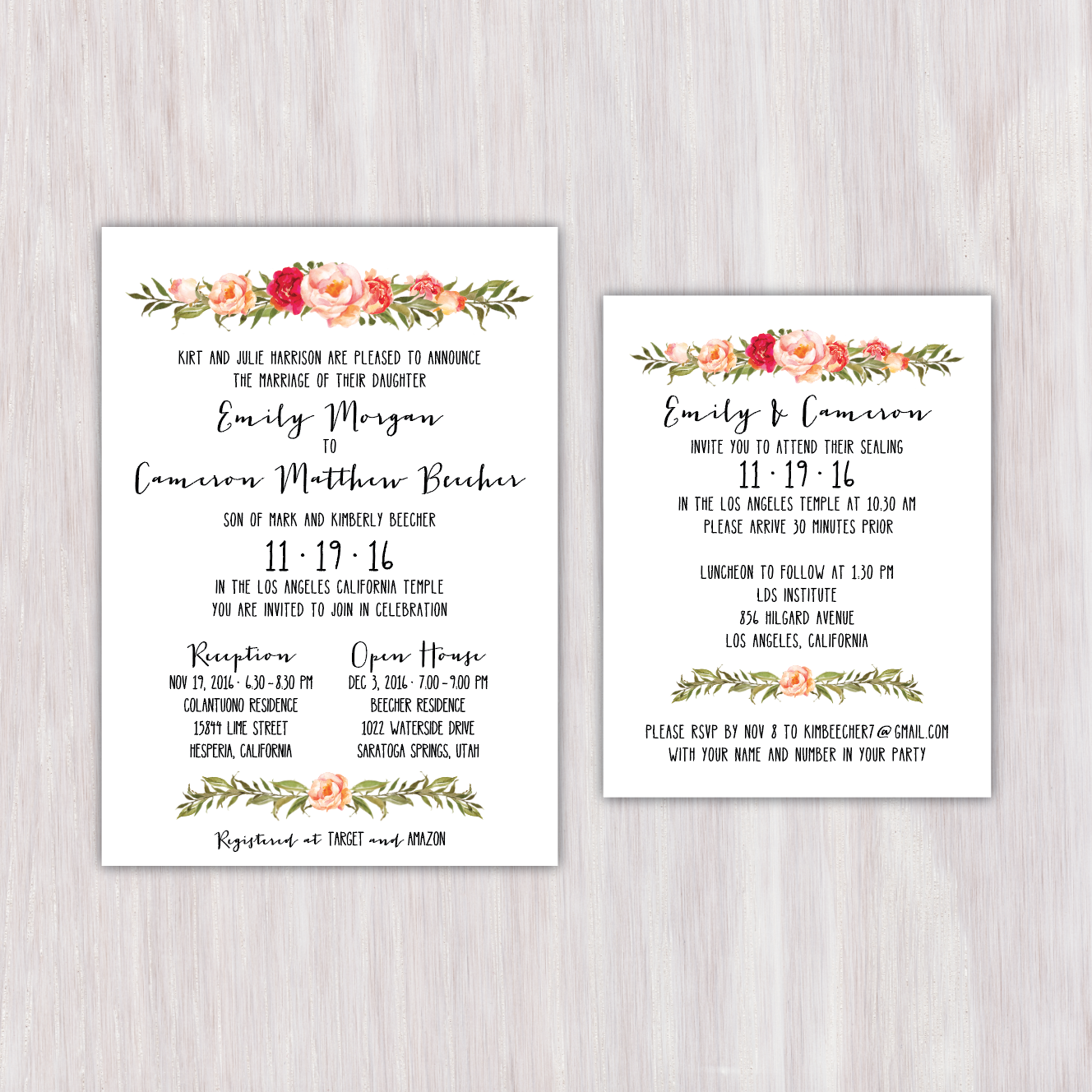 Watercolor floral garland, bright colors, faux hand-lettered, single ...
