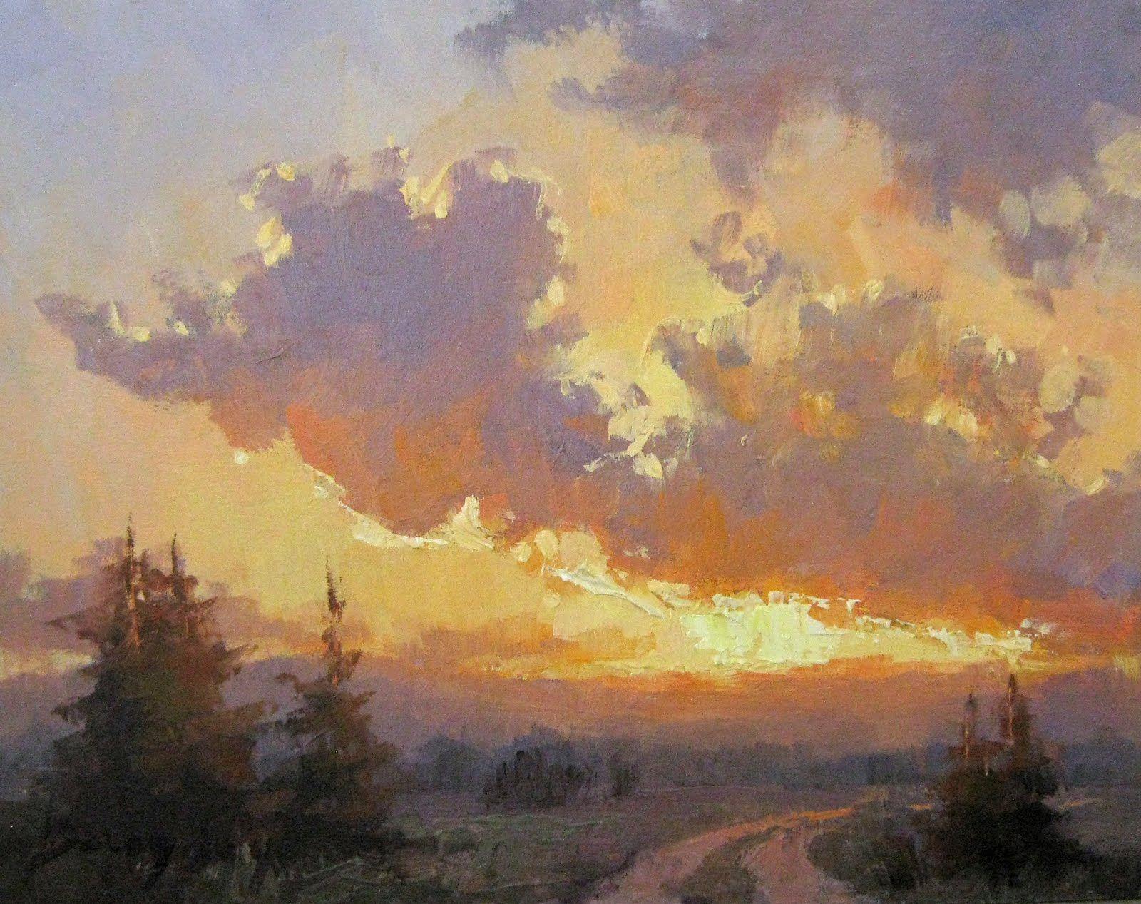 Becky Joy Sunset 6x6 Oil Painting 200 Description From