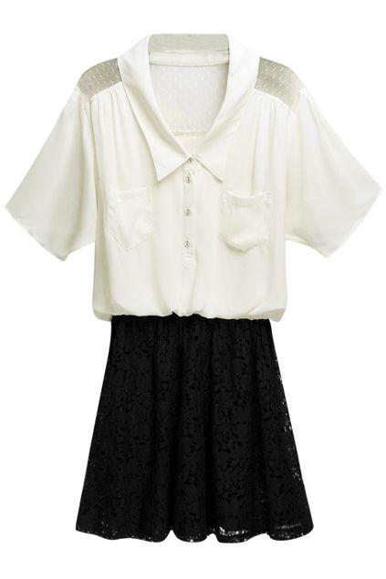 #Romwe Splicing Lace White Dress