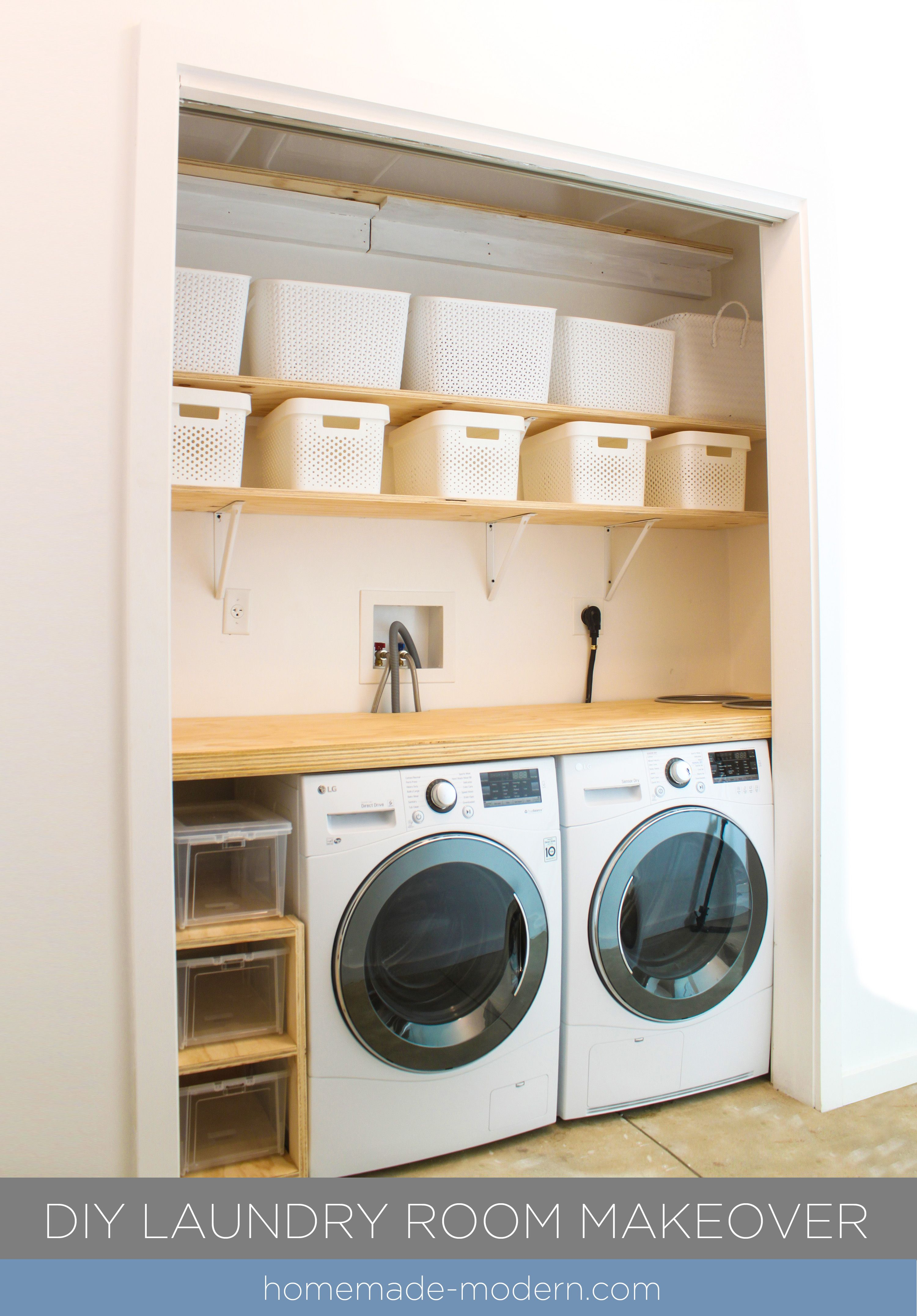 The Shelving For This Diy Laundry Room Was Made Out Plywood