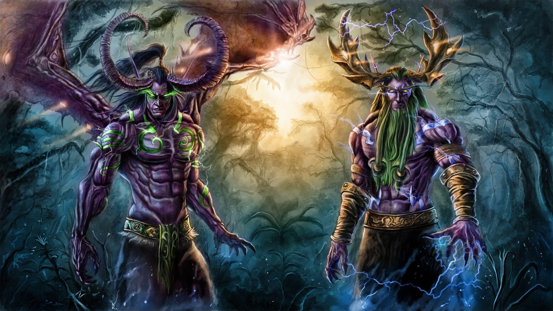 Wallpaper dota terrorblade demon art lightning forest