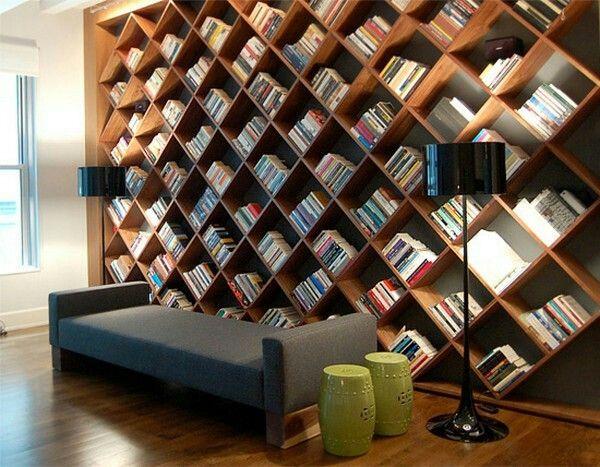 Criss Cross Shelving Home Library Design Unusual Bookcase Bookshelf Design