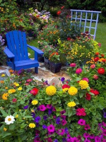 Backyard Flower Garden With Chair Photographic Print Darrell