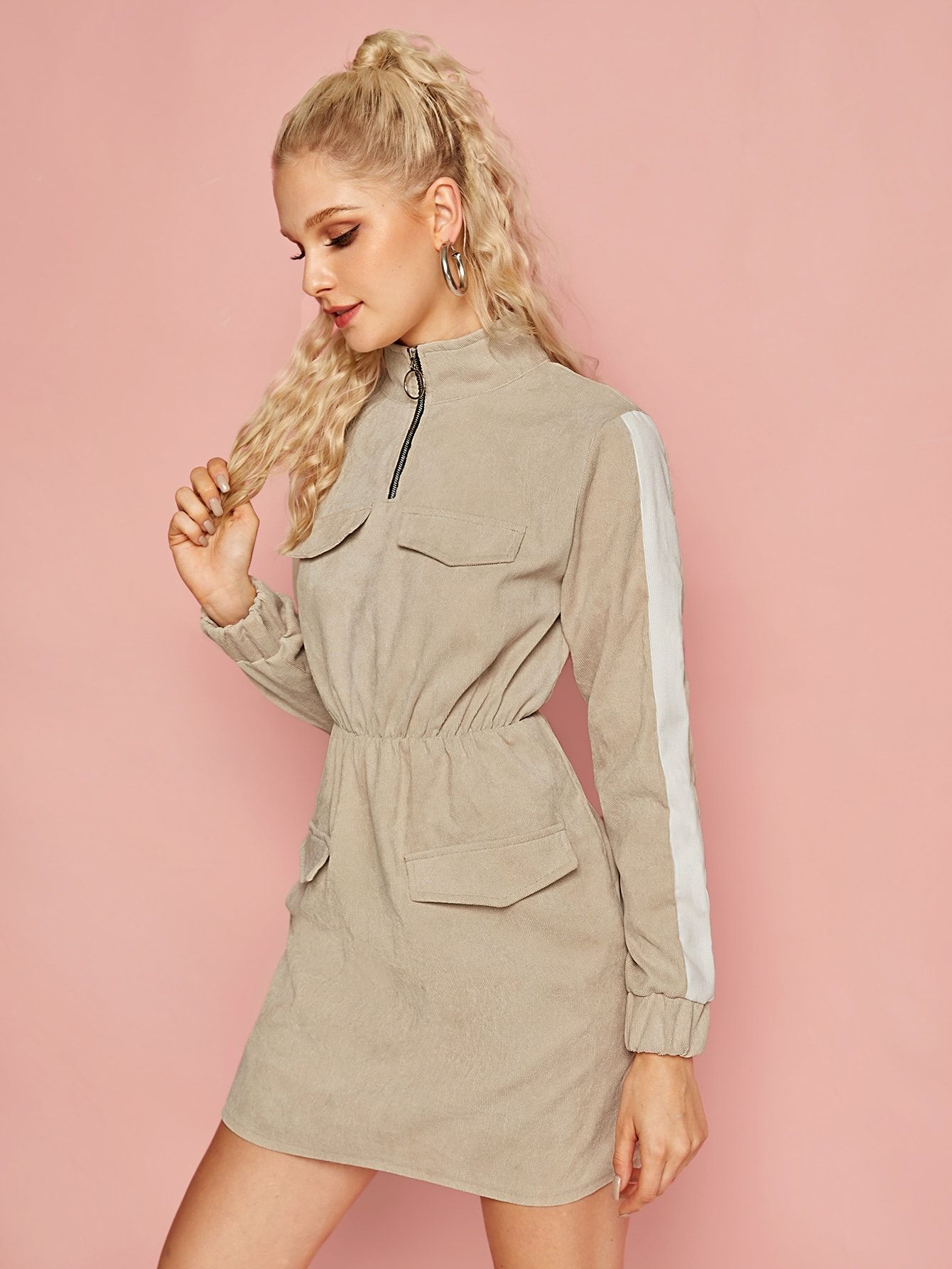 Ad Contrast Panel O Ring Zip Corduroy Dress Tags Casual Beige Colorblock Stand Collar Short Fitted Zipper Corduroy Dress Stand Collar Dress Fashion [ 1785 x 1340 Pixel ]