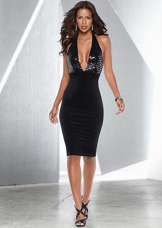 8a03f0c822a95 Venus Women's Sequin Detail Velvet Dress - Black, Size XL | Products ...