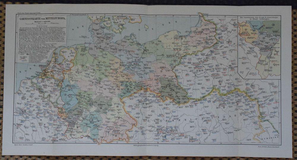 Europa politisch Lithographie 1892 alte historische Landkarte antike Karte