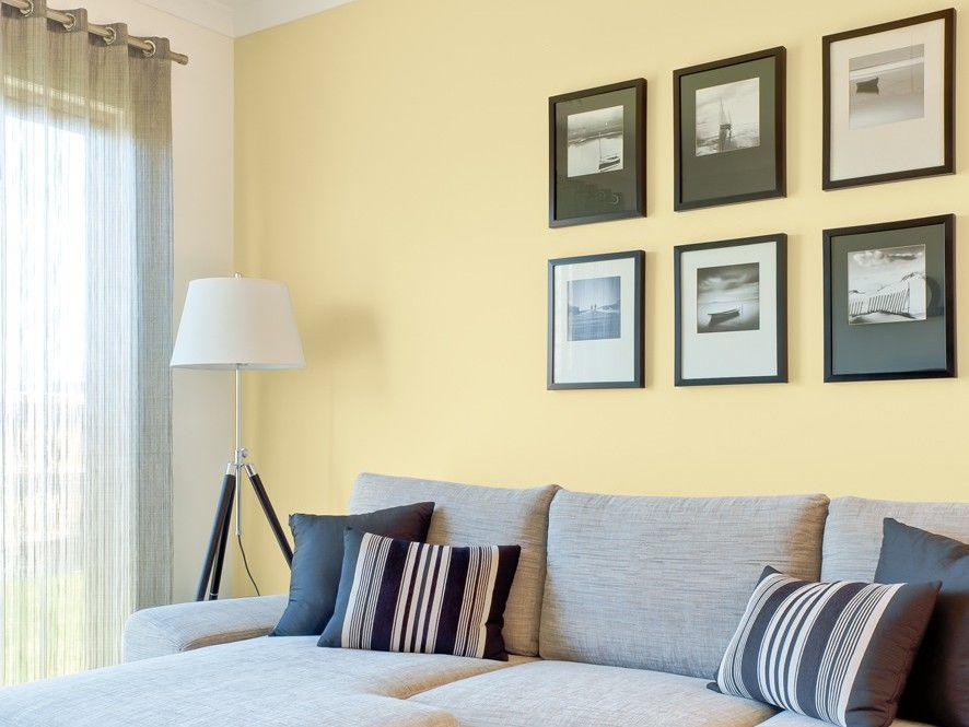Captivating Yellow Living Room Feature Wall   Inspirations Paint: Mobile