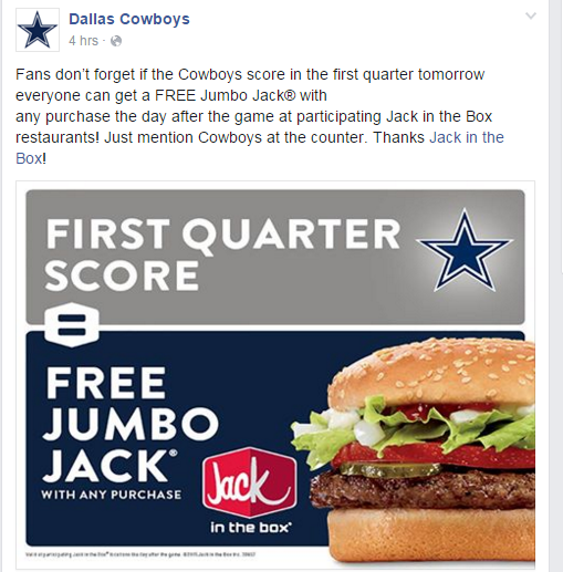 Free Jumbo Jack with any purchase at Jack in the Box on 11/23 if the Dallas Cowboys score during the first quarter.