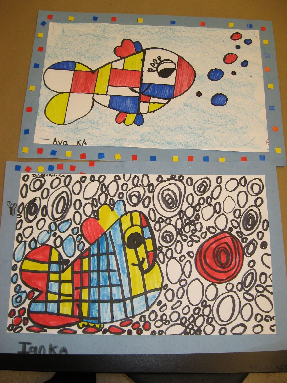 Jamestown Elementary Art Blog Kindergarten Piet Mondrian Fish I Am Obsessed With The Bubbles