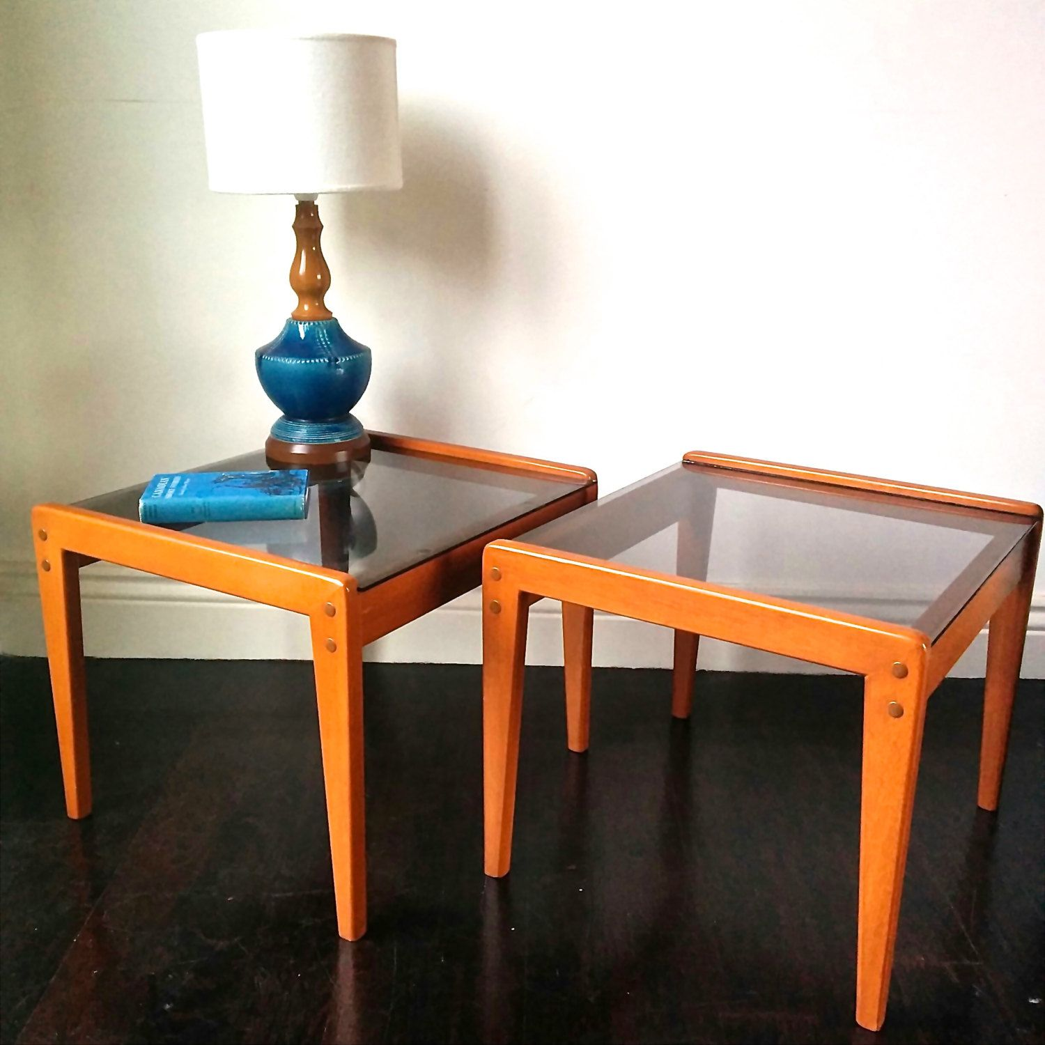 Pair of Teak and Smokey Grey Glass Side Tables. 1960s