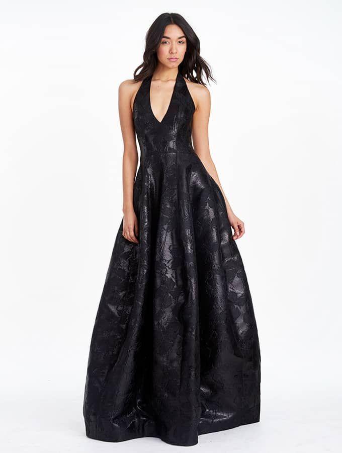 Halston Heritage -Lurex Floral Jacquard Gown