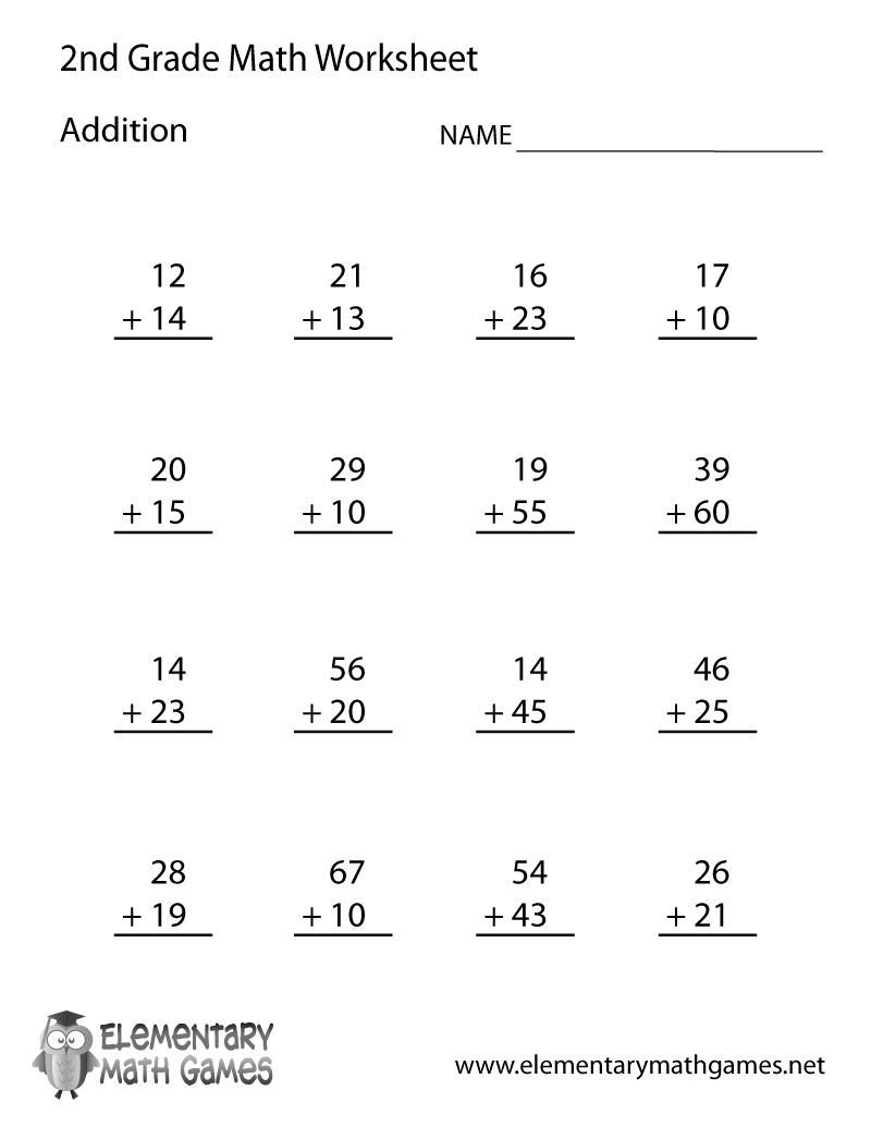 Learn and practice how to add with this printable 2nd grade – Second Grade Printable Math Worksheets