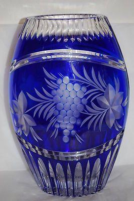 e25b667d9 Germany Handmade Large Cobalt Blue Crystal Cut Glass Bohemian Czech Vase 10  5