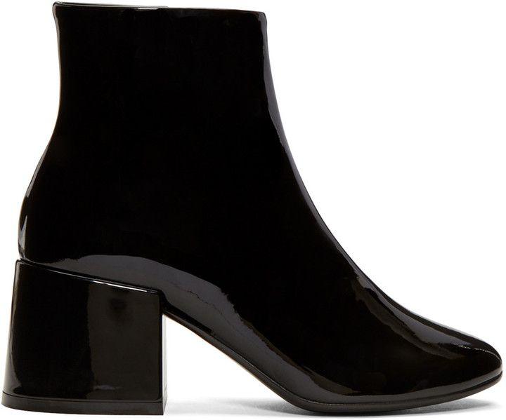 Prada Black Velvet Cube Heel Boots TBi1K