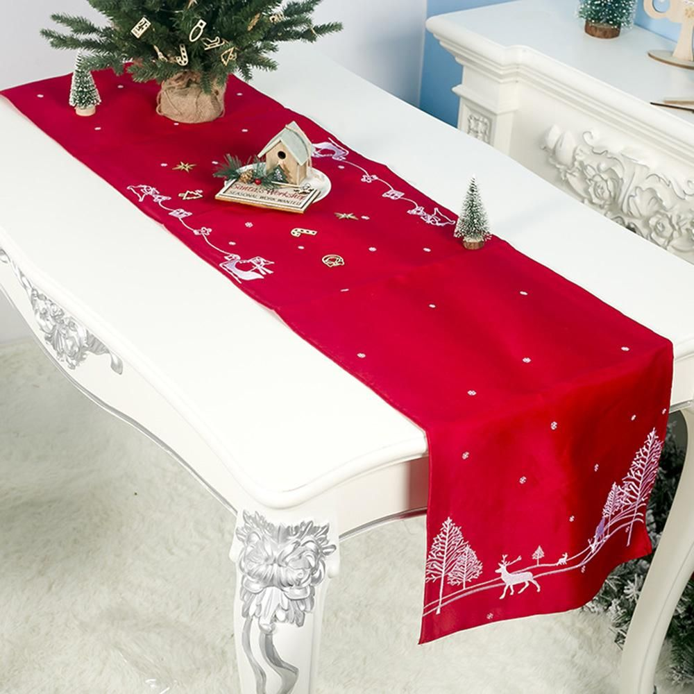 Embroidered Christmas Table Runner Cloth Deer Cover Home Party Decor 180 40cm In 2020 Christmas Table Runner Christmas Table Christmas Display