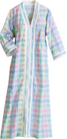 247fdf1bc1 Women s robe is lightweight pastel madras plisse. Zip-front bathrobe ...