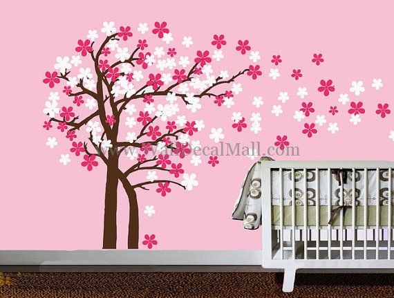 Trailing Cherry Blossom Tree Wall Decals Tree Wall Decal Art Wall Kids Tree Wall Stickers