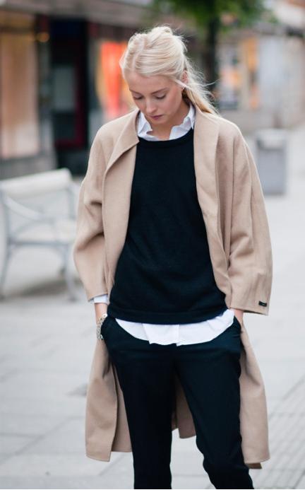 Valkoinen paitapusero + neule + kamelin värinen pitkä takki