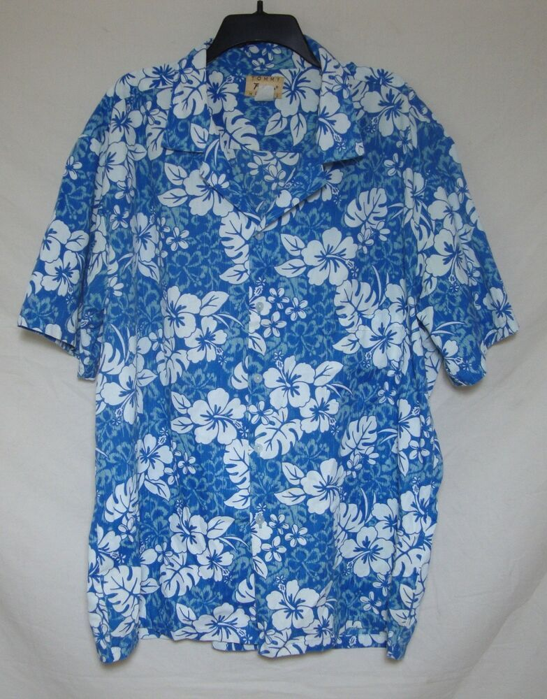 dca371a0ddc6 Vintage Hawaiian Shirt Blue White Floral Short Sleeve Button Front Hawaii  3XL #TommyFashionHawaii #Hawaiian