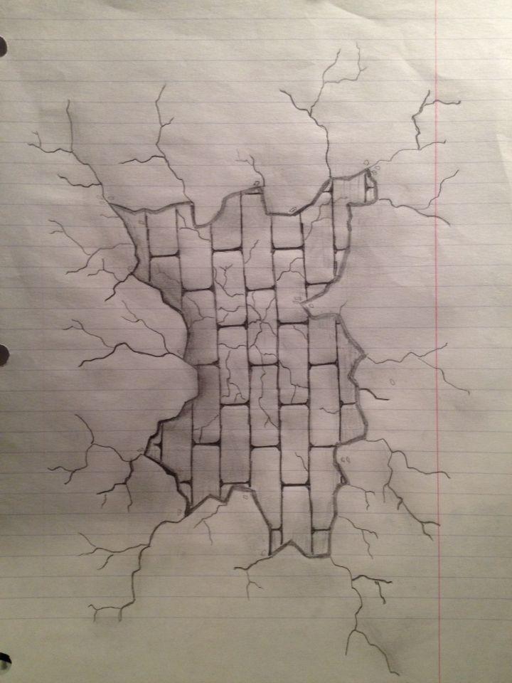 Broken wall with brick wall behind   My Drawings ...