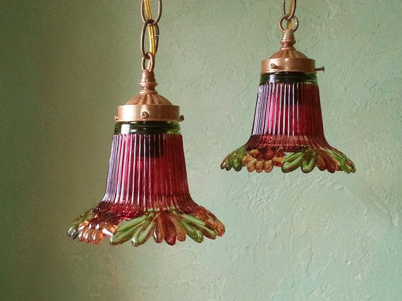 Pendant Light Pair Pomegranate Pressed Glass by queendecor on Etsy