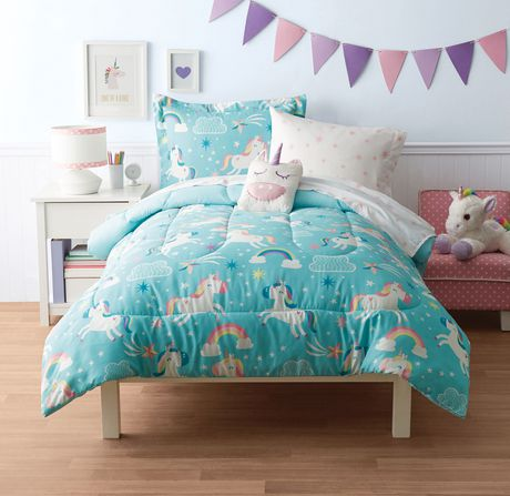 Mainstays Kids Unicorn Sky Bed Set Unicorn Sky Double Bedding