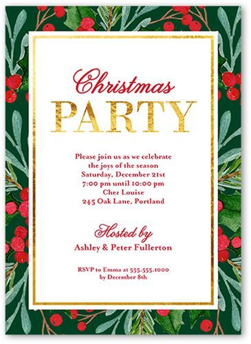 Holiday Party Invitations Festive Foliage Border Holiday Invitation - holiday party invitation