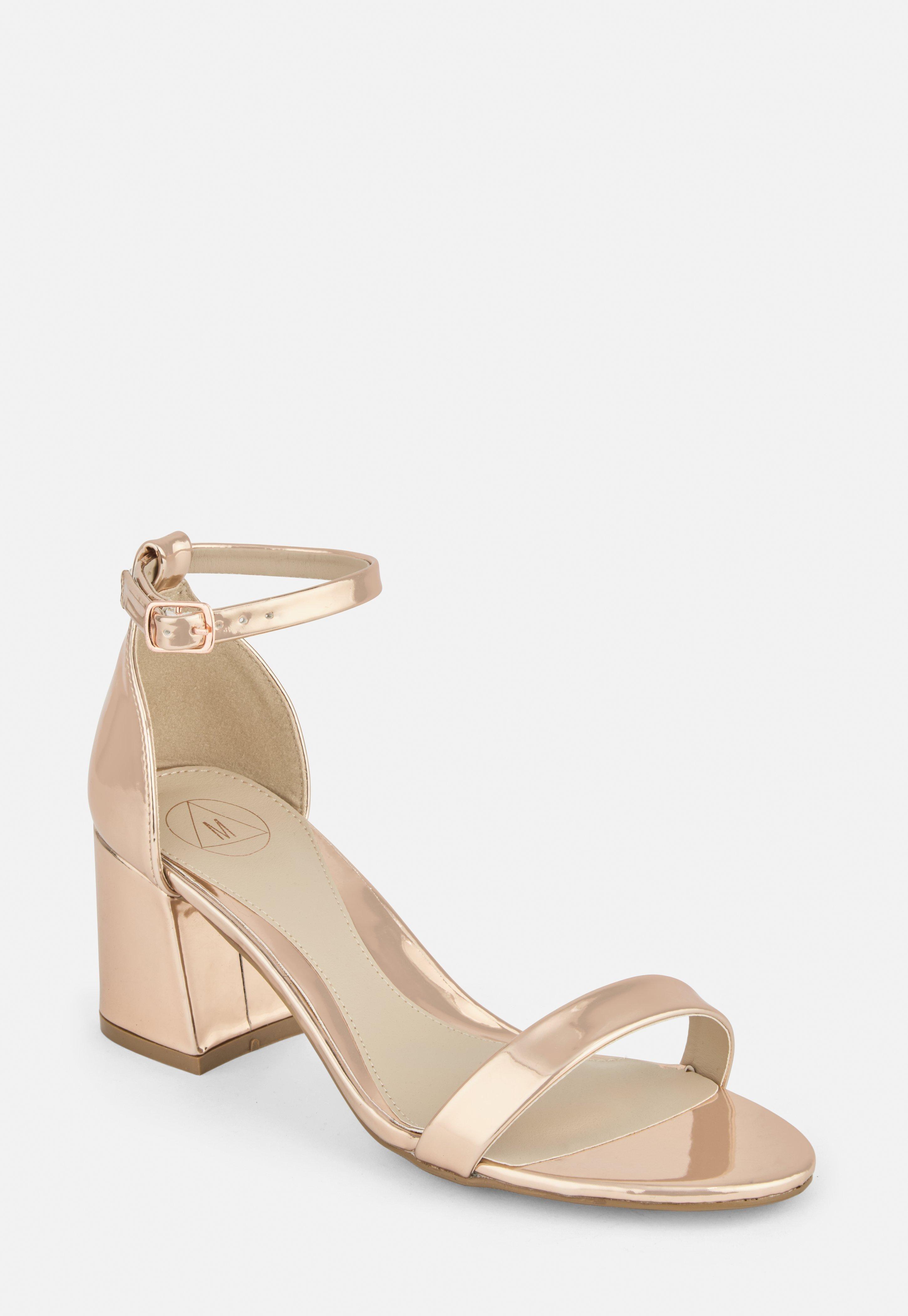 Rose Gold Wide Fit Mid Block Heel